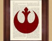 """Starwars Rebel Alliance symbol Dictionary print, Mixed Media art, Vintage upcycled page book art print size 6.5"""" x 9.5"""""""