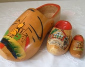 Wooden Shoes from Holland, Set of Hand Carved Shoes, Decorative Shoes