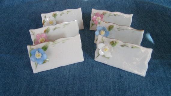 Shafford Porcelain Flower Place Card Set, Seating Card Set, Food Identification Cards