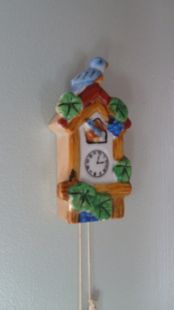 Miniature Cuckoo Clock Wall Pocket, Novalty Planter, Clock Wall Vase