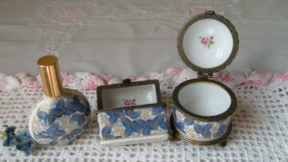 Three Piece Set of Hinged Porcelain Boxes, Limoge Style Dresser Boxes, Casket Box, Perfume Bottle, Trinket Box