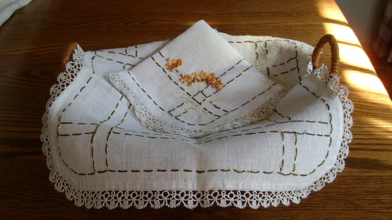 Bread Cloths, Two Hand Embroidered with Tatted Edge