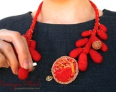 Felted necklace, red and gold