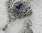 EYE of the DRAGON Victorian fantasy style filigree and dragon's breath opal necklace - matching earrings
