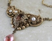 BLUSHING PEARLS romantic Victorian style antiqued gold Swarovski and pearl necklace, free gift box