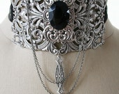 THE COUNTESS Victorian romantic fantasy choker in aged silver with black crystal, free earrings