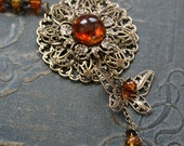 AMBER WINGS romantic Victorian style filigree and amber necklace, free matching earrings and gift box