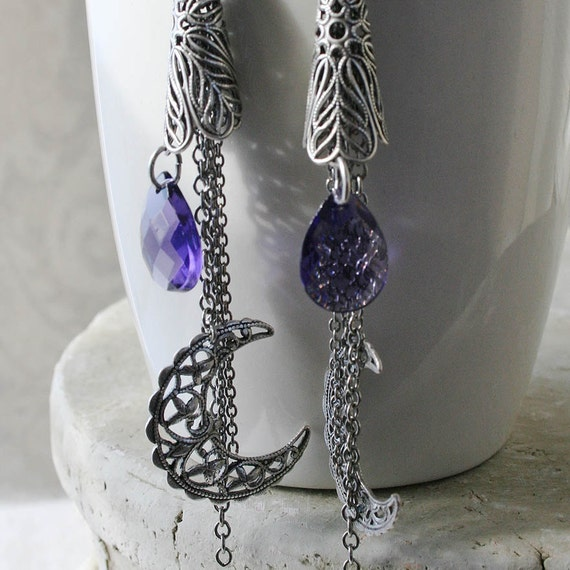 NIGHTFALL romantic vintage fantasy inspired purple crystal and moon drop Victorian earrings, free gift boxing