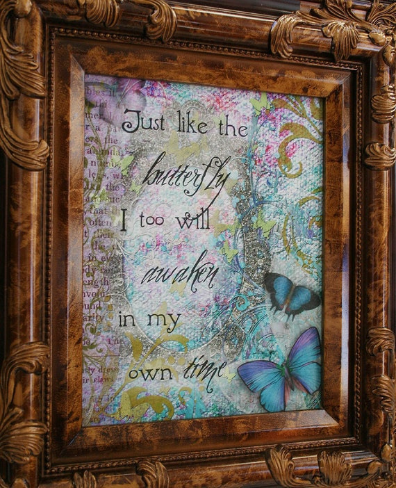 Items similar to just like the butterfly altered art for Art sites like etsy