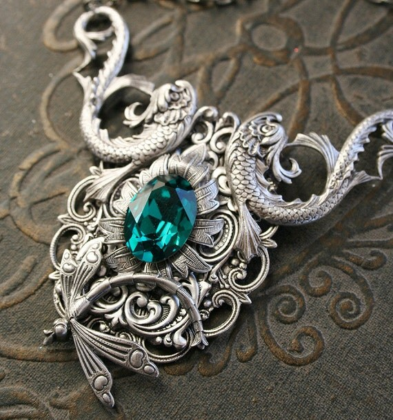 EMERALD KOI romantic Victorian style antiqued silver Swarovski and koi fish necklace, free gift box