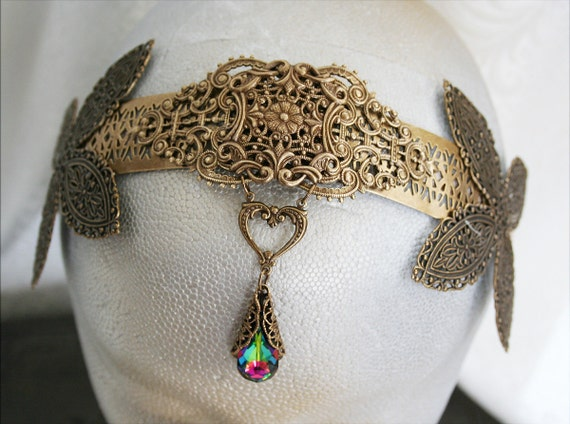 THE PRINCESSA Renaissance fantasy inspired crown, circlet or tiara featuring ornate filigree and Swarovski teardrop