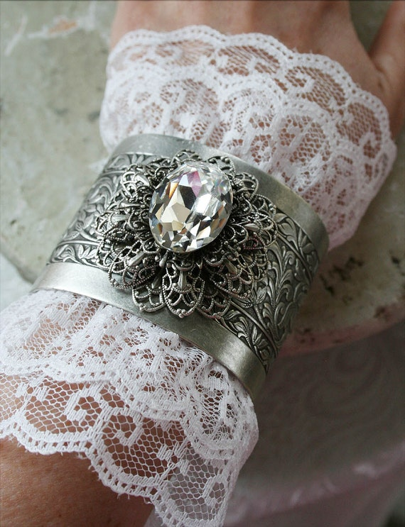 ETERNAL LOVE Victorian fantasy bridal cuff bracelet featuring Swarovski crystal, aged silver and white lace