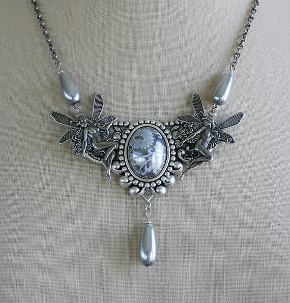 SILVER DANCE romantic vintage fantasy inspired aged silver fairy necklace, with free matching earrings