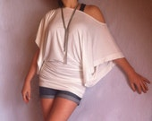 Wide Off Shoulder Blouse made from Soft Cotton with Elastane White Color/ CH022