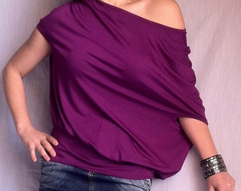 Wide Off Shoulder Blouse Loose Shirt Oversized Top Women's Tops Plus Size Women's Plus Size Blouse Lush Plum Cotton Jersey