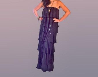 Bohemian Maxi Dress Bandeau Layered Ruffles Maxi Sheer Maxi Dress Plus Size Maxi Dress Boho Black Dress