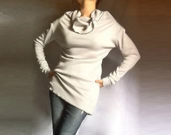 Long Sleeves Turtle Neck Blouse / Sexy Top / Italian Cotton / White-Grey Color