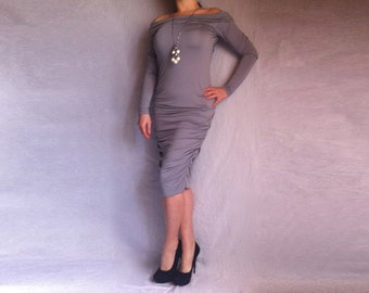 Evening Bodycon Dress Grey Off Shoulder Dress Jersey Draped Midi Bodycon Dress Italain Poly Made to Measure Dress Plus Size Dress Oversize