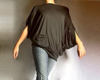 Black Wide Off Shoulder Blouse/ Batwing Top/ Loose Wide Shirt Soft Cotton Jersey/CH006