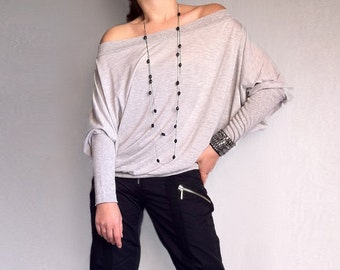 Wide Off Shoulder Blouse made from Soft Cotton with Elastane Light Grey Color