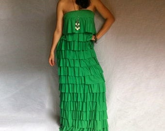 Fashion Maxi Dress Off the Shoulder Layered Ruffles  Cotton with Elastane