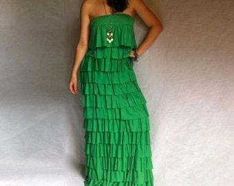 XXL XXXL Maxi Dress/ Off the Shoulder Layered Ruffles Maxi/ Imperial Green Dress/ A Line Dress/ Plus Size Relaxed Maxi/ Summer Woman Dress