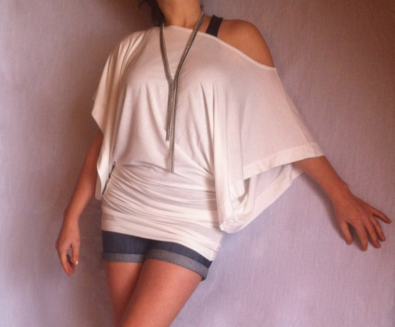 Wide Off Shoulder Blouse Top / Kimono Top/  Crafterd of Soft Jersey/ Sexy White Shirt/  White Color/ CH022