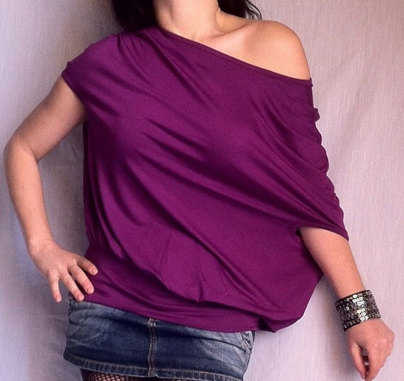Wide Off Shoulder Blouse made from Purple Color Soft Cotton blend of Elastane / CH013