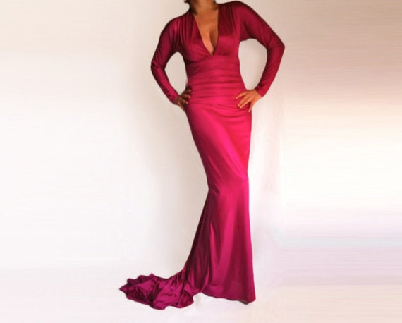 Fashion Wedding / Prom Maxi Dress with a Train made from Hight Quality Italian Jersey