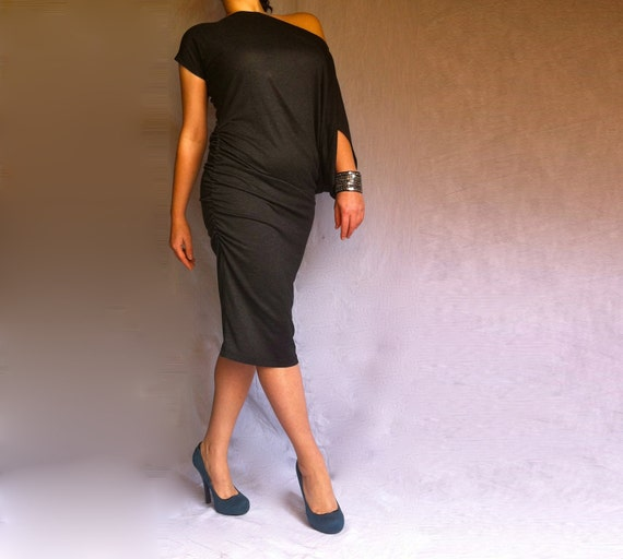 Little Black Midi Dress / Asymmetric Off Shoulder Dress / Black Tunic Short Sleeves / Black Evening Cocktail Dress/ Italian Cotton