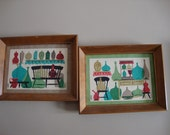 Set of Two Hand Painted Vintage Prints on Fabric