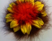 LG. Yellow Flower With Marabou Feathers Hair Clip