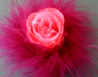 Pink Rose with Magenta Marabou Hair Clip