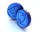 Cobalt blue recycled buttons post earrings upcycled jewelry eco friendly repurposed shank buttons sustainable