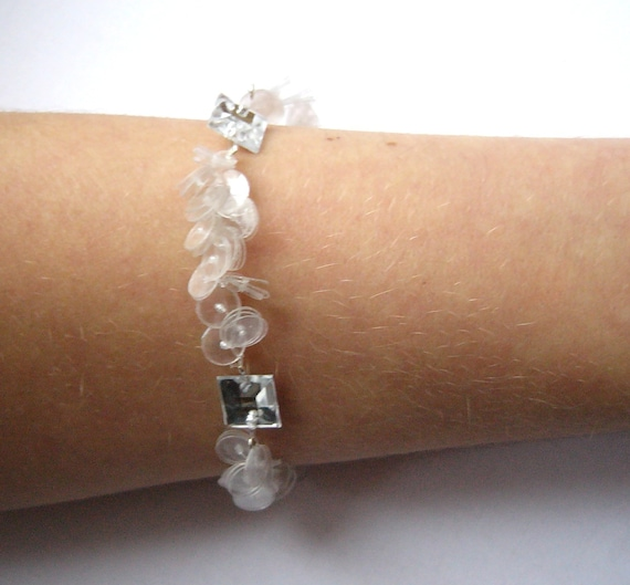 Soft white bracelet made of recycled plastic bottles silver for Jewelry made from plastic bottles