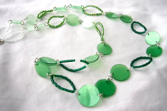 Spring green necklace earrings upcycled jewelry recycled plastic bottle set