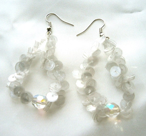 Upcycled plastic bottle earrings Plastic Ice with a glass bead  - made of plastic sequins