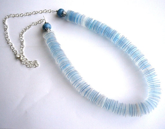 Recycled plastic bottle blue necklace upcycled jewelry Agua