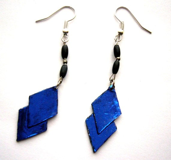 Upcycled cobalt blue earrings made of paper beads recycled jewelry, eco friendly, sustainable