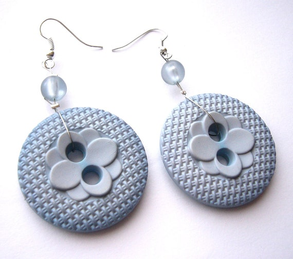 Buttons earrings - light blue or grey - large recycled buttons in dangle earrings, upcycled jewelry, eco friendly
