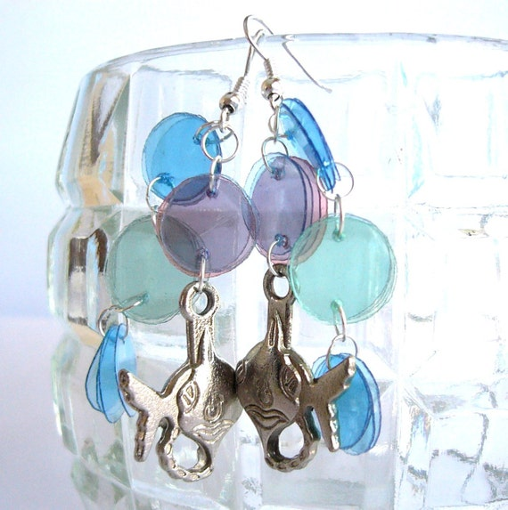 Fishes earrings made of recycled plastic bottles upcycled jewelry, eco friendly, sustainable