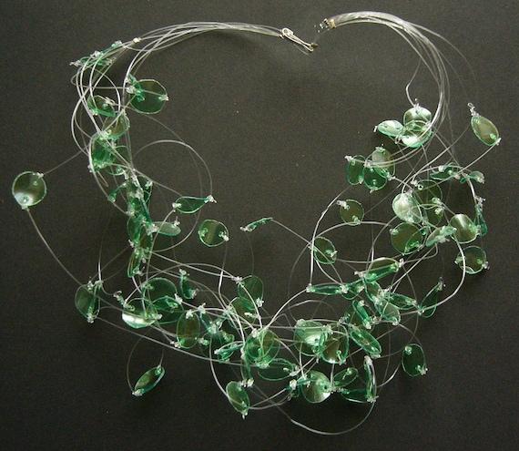 Recycled green plastic bottle chocker necklace upcycled jewelry Emerald Lightness eco friendly, sustainable