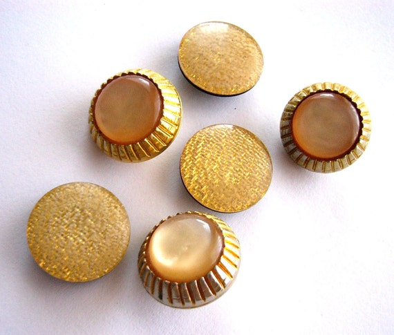Golden vintage buttons 6 pcs shank amber sunny yellow lot upcycled supplies