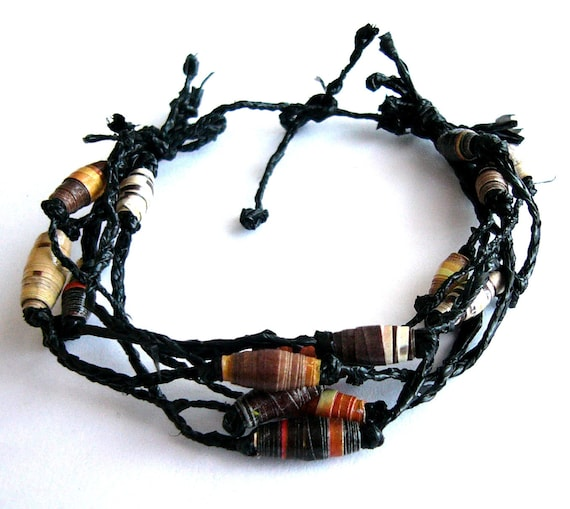 Unisex bracelet paper beads and recycled plastic bag eco friendly, upcycled jewelry, in black and brown, rustic, indie, boho, hippie