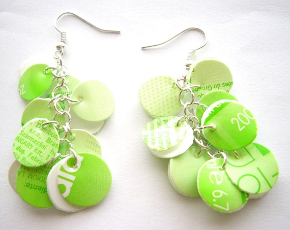 Recycled plastic bottle earrings fresh bright green circles petals upcycled jewelry, eco friendly, sustainable great for summer