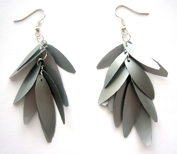 Recycled grey plastic bottle earrings eco friendly upcycled jewelry silver leaves