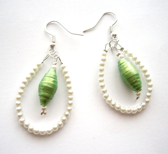 Paper bead earrings upcycled recycled jewelry, white chandelier earrings, eco friendly repurposed jewelry, green pearl earrings