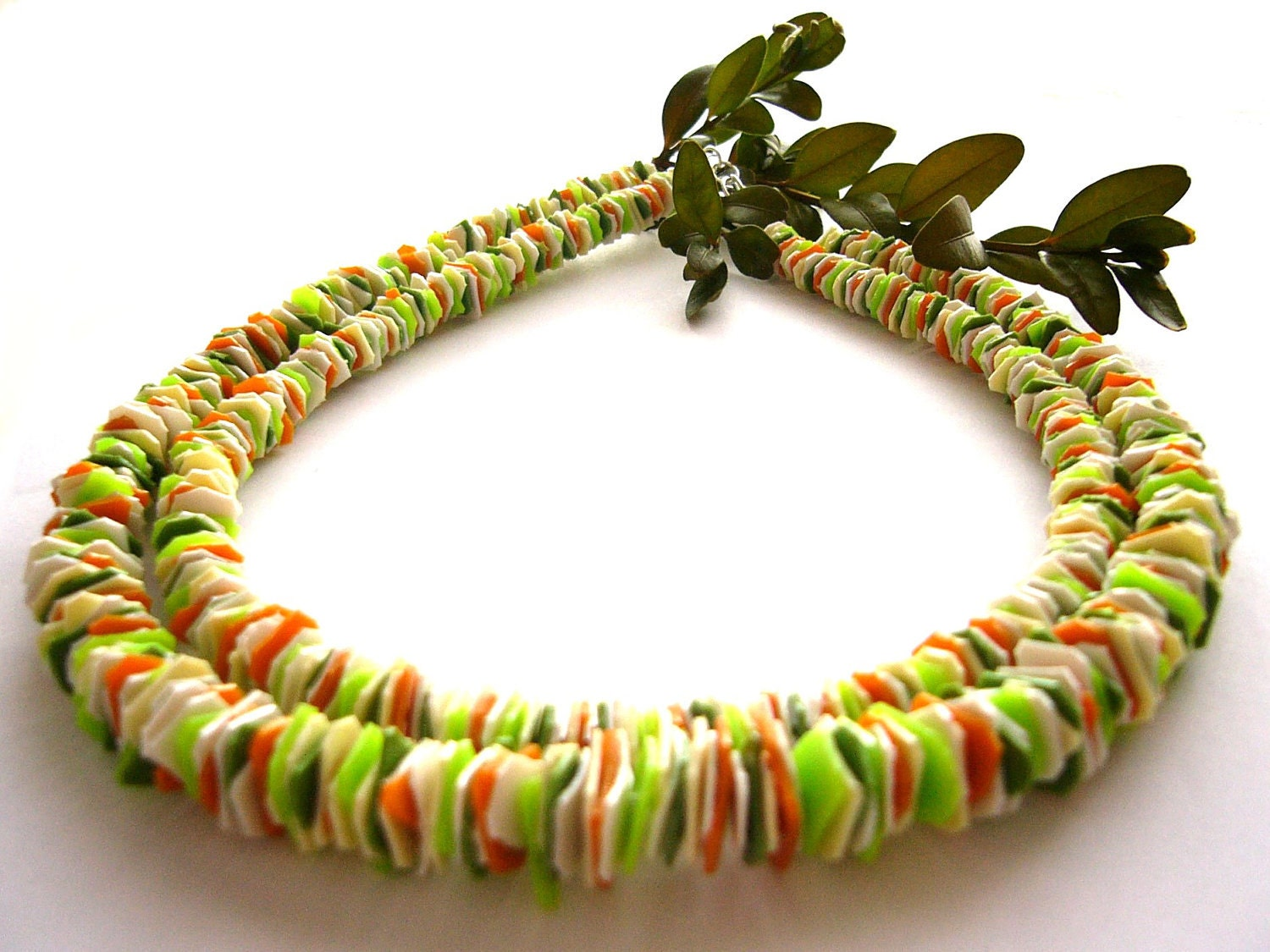 Recycled plastic bottles spring necklace upcycled by for Jewelry made from plastic bottles