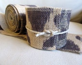 natural and Aubergine Burlap 3 inch ribbon/ 5 yard piece more is available