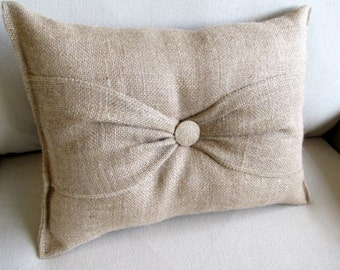 simple bow Natural Burlap Accent Pillow